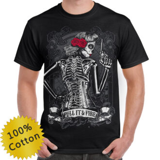 Rose Lady Pull It and Fire Graphic T-shirt